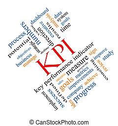 kpi, concept, mot, nuage, incliné
