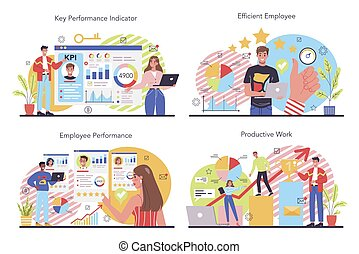 KPI concept set. Key performance indicators. Employee evaluation