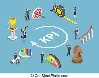 kpi, concept., vector, plano, isométrico