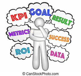 kpi, denker, wolkenhimmel, schlüssel, indikator, gedanke, abbildung, leistung, ziele, 3d
