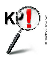 KPI key performance indicator with magnifying glass on white background