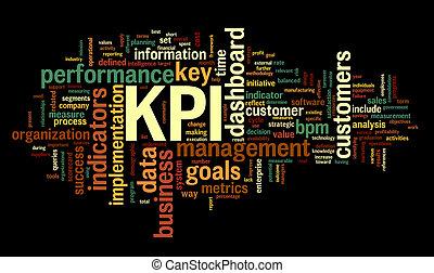 KPI key performance indicators in word tag cloud on black...