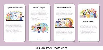 KPI mobile application banner set. Employee evaluation, testing