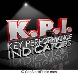 kpi, nyckel, utförande, indikatorer, ord, spotlight, utvärdering, granska