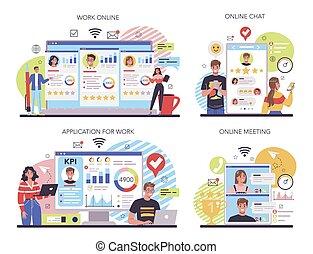KPI online service or platform set. Employee evaluation, testing