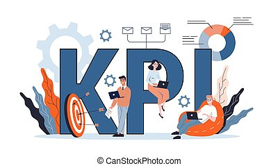KPI or key performance indicator concept. Idea of data review