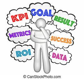 kpi, pensador, nubes, llave, indicador, pensamiento, ...
