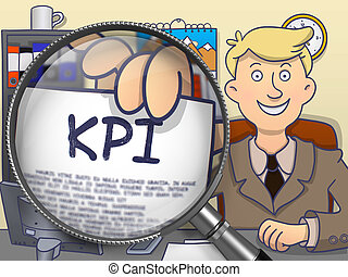 KPI through Magnifying Glass. Doodle Design.