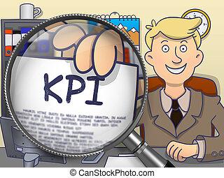 KPI through Magnifying Glass. Doodle Design.