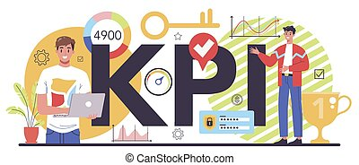KPI typographic header. Employee evaluation, testing form and report, worker