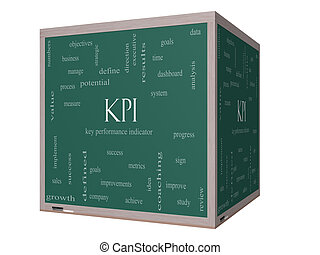 KPI Word Cloud Concept on a 3D cube Blackboard