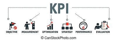 Banner KPI concept with icons. Performance Indicator using Business Intelligence metrics to measure achievement versus planned target