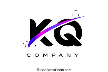 KQ K Q Black Letter Logo Design with Purple Magenta Swoosh
