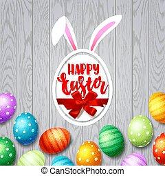 králíček, vejce, červeň, rukopis, ribbon., nahý, barvitý, šťastný, krasopis, králík, nach, konzervativní, neposkvrněný, moderní, easter., nezkušený, satý, červeň, plakát, poklona, zbabělý, grafické pozadí., ozdobený