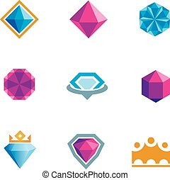královský, přepych, leštit, diamant, drahokam, sym