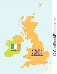 království, mapa, sjednocený, nárys, jednoduchý, prapor, irsko