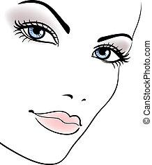 kráska, děvče, čelit, překrásný eny, vektor, portrét