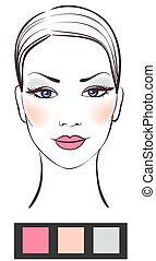 kráska, makeup, ženy, ilustrace, čelit, vektor