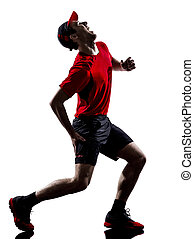 krämpfe, silhouette, läufer, jogger, rennender , schmerz, ...