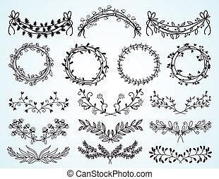 kränze, blumen-, hand-drawn, satz, ränder
