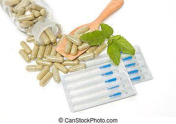 kräuter, droge, kapseln, in, holzlöffel, mit, akupunktur nadeln