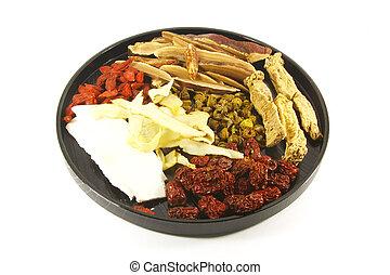 kräuter, suppe, chinesisches , bestandteile