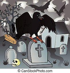 kråka, kyrkogård