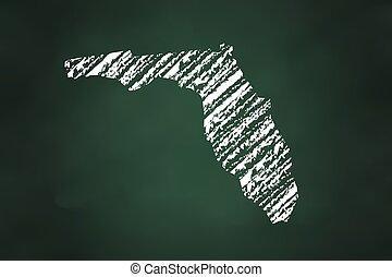 kréta, térkép, állam, florida, mód