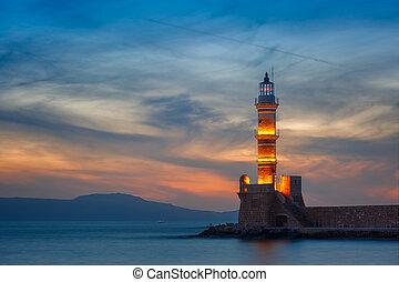 kréta, világítótorony, görögország, napnyugta, chania