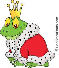 król, białe tło, żaba