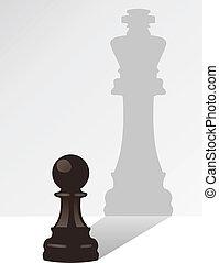 król, cień, wektor, szachy, zastaw