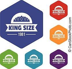król, hexahedron, wektor, średniowieczny, ikony