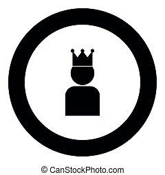 król, kolor, korona, czarne koło, okrągły, ikona