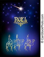 król, mądry, odwiedzając, mężczyźni, trzy, illustration:,...