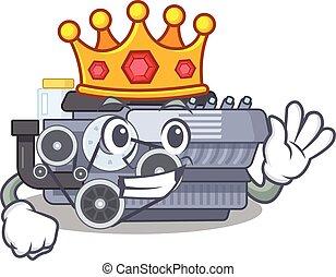 król, maskotka, stylizowany, spalanie, rysunek, styl, maszyna, oszałamiający