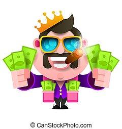 król, pełny, podobny, pomyślny, pieniądze, wektor, kieszenie, biznesmen
