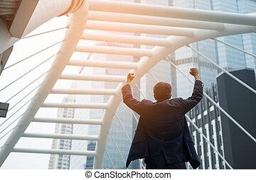 król, powodzenie, handlowy, pomyślny, concept., ręka, mądry, przód, biznesmen, świat, wychowywanie, budowa.