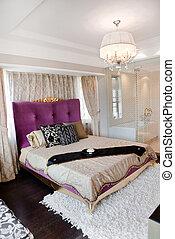 król, rozmiar, łóżko, w, nowoczesny, sypialnia