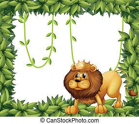 król, ułożyć, pokryty obficie liśćmi, lew
