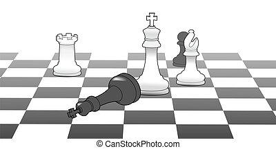 król, zwycięstwo, strategia, gra, zwycięstwo, szachy