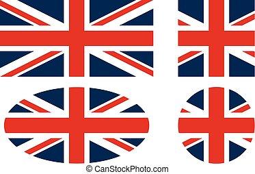 królestwo, bandera, zjednoczony, wektor, ikony