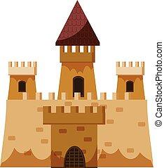 królestwo, ikona, zamek, styl, rysunek