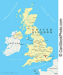 królestwo, mapa, zjednoczony, polityczny