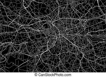 królestwo, mapa, zjednoczony, powierzchnia, ciemny, londyn