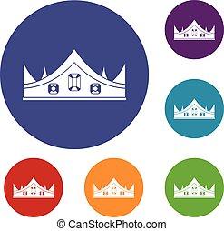 królewski, komplet, korona, ikony