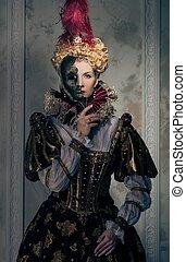 królewski, królowa, strój, hardy, maska