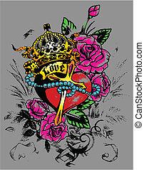 królewski, serce, z, flores, ozdoba