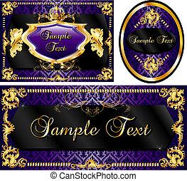 królewski, szablon, komplet, purpurowy