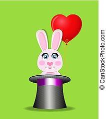 królik, czarna magia, balloon, zielony, tło., czerwony, walec