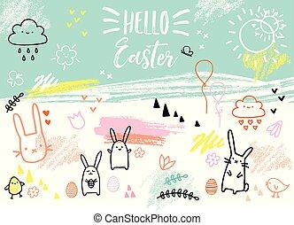 króliki, hand-drawn, wektor, wielkanoc, karta